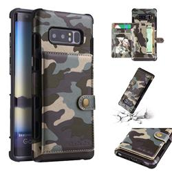 Camouflage Multi-function Leather Phone Case for Samsung Galaxy Note 8 - Gray