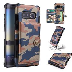 Camouflage Multi-function Leather Phone Case for Samsung Galaxy Note 8 - Blue