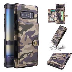 Camouflage Multi-function Leather Phone Case for Samsung Galaxy Note 8 - Purple