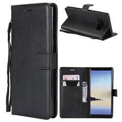 Retro Greek Classic Smooth PU Leather Wallet Phone Case for Samsung Galaxy Note 8 - Black