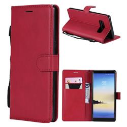Retro Greek Classic Smooth PU Leather Wallet Phone Case for Samsung Galaxy Note 8 - Red