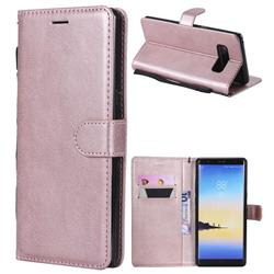 Retro Greek Classic Smooth PU Leather Wallet Phone Case for Samsung Galaxy Note 8 - Rose Gold