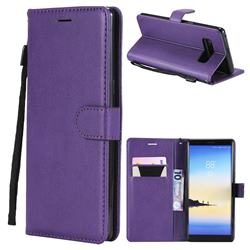 Retro Greek Classic Smooth PU Leather Wallet Phone Case for Samsung Galaxy Note 8 - Purple