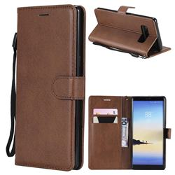 Retro Greek Classic Smooth PU Leather Wallet Phone Case for Samsung Galaxy Note 8 - Brown