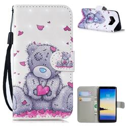 Love Panda 3D Painted Leather Wallet Phone Case for Samsung Galaxy Note 8