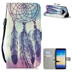Feather Wind Chimes 3D Painted Leather Wallet Phone Case for Samsung Galaxy Note 8