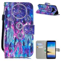 Star Wind Chimes 3D Painted Leather Wallet Phone Case for Samsung Galaxy Note 8