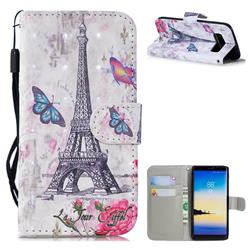 Paris Tower 3D Painted Leather Wallet Phone Case for Samsung Galaxy Note 8