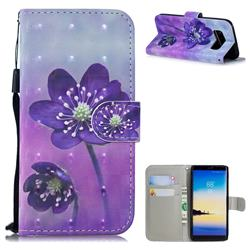Purple Flower 3D Painted Leather Wallet Phone Case for Samsung Galaxy Note 8
