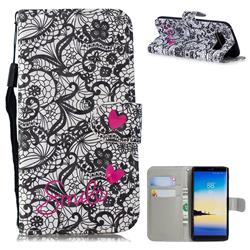 Lace Flower 3D Painted Leather Wallet Phone Case for Samsung Galaxy Note 8