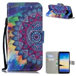 Oil Painting Mandala 3D Painted Leather Wallet Phone Case for Samsung Galaxy Note 8