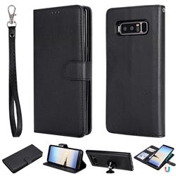 Retro Greek Detachable Magnetic PU Leather Wallet Phone Case for Samsung Galaxy Note 8 - Black
