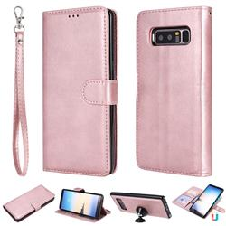 Retro Greek Detachable Magnetic PU Leather Wallet Phone Case for Samsung Galaxy Note 8 - Rose Gold