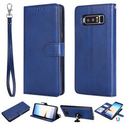 Retro Greek Detachable Magnetic PU Leather Wallet Phone Case for Samsung Galaxy Note 8 - Blue