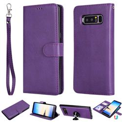 Retro Greek Detachable Magnetic PU Leather Wallet Phone Case for Samsung Galaxy Note 8 - Purple