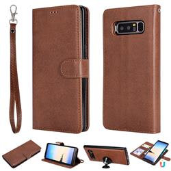 Retro Greek Detachable Magnetic PU Leather Wallet Phone Case for Samsung Galaxy Note 8 - Brown