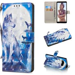 Ice Wolf 3D Painted Leather Wallet Phone Case for Samsung Galaxy Note 8