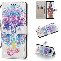 Colorful Elephant 3D Painted Leather Wallet Phone Case for Samsung Galaxy Note 8