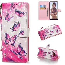 Pink Butterfly 3D Painted Leather Wallet Phone Case for Samsung Galaxy Note 8