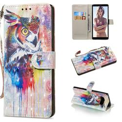 Watercolor Owl 3D Painted Leather Wallet Phone Case for Samsung Galaxy Note 8