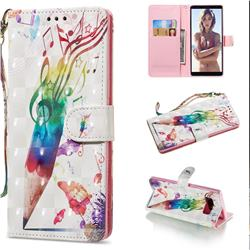 Music Pen 3D Painted Leather Wallet Phone Case for Samsung Galaxy Note 8