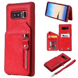 Classic Luxury Buckle Zipper Anti-fall Leather Phone Back Cover for Samsung Galaxy Note 8 - Red