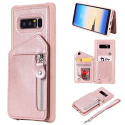 Classic Luxury Buckle Zipper Anti-fall Leather Phone Back Cover for Samsung Galaxy Note 8 - Pink