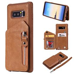 Classic Luxury Buckle Zipper Anti-fall Leather Phone Back Cover for Samsung Galaxy Note 8 - Brown