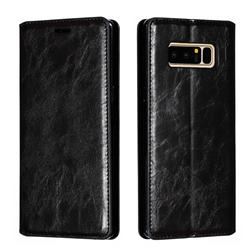 Retro Slim Magnetic Crazy Horse PU Leather Wallet Case for Samsung Galaxy Note 8 - Black