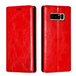 Retro Slim Magnetic Crazy Horse PU Leather Wallet Case for Samsung Galaxy Note 8 - Red