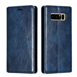 Retro Slim Magnetic Crazy Horse PU Leather Wallet Case for Samsung Galaxy Note 8 - Blue
