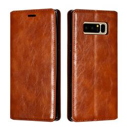Retro Slim Magnetic Crazy Horse PU Leather Wallet Case for Samsung Galaxy Note 8 - Brown