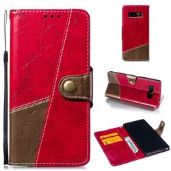 Retro Magnetic Stitching Wallet Flip Cover for Samsung Galaxy Note 8 - Rose Red
