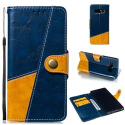 Retro Magnetic Stitching Wallet Flip Cover for Samsung Galaxy Note 8 - Blue