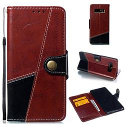 Retro Magnetic Stitching Wallet Flip Cover for Samsung Galaxy Note 8 - Dark Red