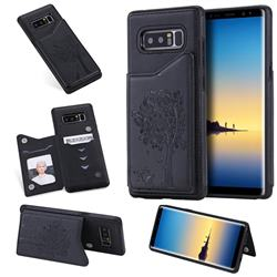 Luxury Tree and Cat Multifunction Magnetic Card Slots Stand Leather Phone Back Cover for Samsung Galaxy Note 8 - Black