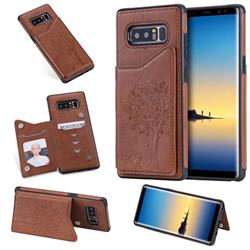 Luxury Tree and Cat Multifunction Magnetic Card Slots Stand Leather Phone Back Cover for Samsung Galaxy Note 8 - Brown