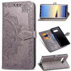 Embossing Imprint Mandala Flower Leather Wallet Case for Samsung Galaxy Note 8 - Gray