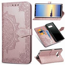 Embossing Imprint Mandala Flower Leather Wallet Case for Samsung Galaxy Note 8 - Rose Gold