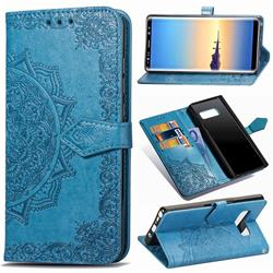 Embossing Imprint Mandala Flower Leather Wallet Case for Samsung Galaxy Note 8 - Blue