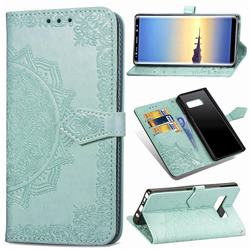 Embossing Imprint Mandala Flower Leather Wallet Case for Samsung Galaxy Note 8 - Green