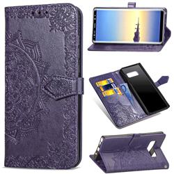Embossing Imprint Mandala Flower Leather Wallet Case for Samsung Galaxy Note 8 - Purple