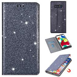 Ultra Slim Glitter Powder Magnetic Automatic Suction Leather Wallet Case for Samsung Galaxy Note 8 - Gray