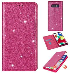 Ultra Slim Glitter Powder Magnetic Automatic Suction Leather Wallet Case for Samsung Galaxy Note 8 - Rose Red