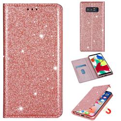 Ultra Slim Glitter Powder Magnetic Automatic Suction Leather Wallet Case for Samsung Galaxy Note 8 - Rose Gold
