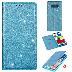 Ultra Slim Glitter Powder Magnetic Automatic Suction Leather Wallet Case for Samsung Galaxy Note 8 - Blue