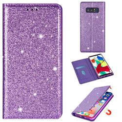 Ultra Slim Glitter Powder Magnetic Automatic Suction Leather Wallet Case for Samsung Galaxy Note 8 - Purple