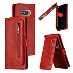 Multifunction 9 Cards Leather Zipper Wallet Phone Case for Samsung Galaxy Note 8 - Red