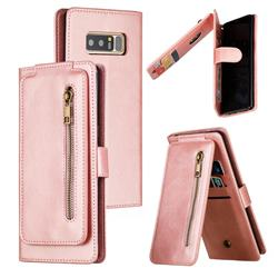 Multifunction 9 Cards Leather Zipper Wallet Phone Case for Samsung Galaxy Note 8 - Rose Gold