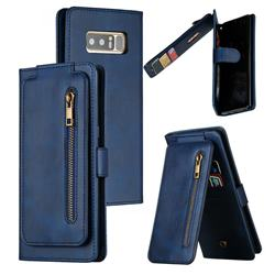 Multifunction 9 Cards Leather Zipper Wallet Phone Case for Samsung Galaxy Note 8 - Blue